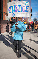 Students from the Manhattan Country School with their families and friends participate in their 29th Annual Martin Luther King Jr. Commemorative Walk in New York, organized by the 8th Grade students, on Monday, January 16, 2017.  The walkers honored the memory of King in their march through the Morningside Heights and Harlem stopping at various sites to read speeches and letters written by students.  (© Richard B. Levine)