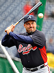 2 April 2011: Atlanta Braves Manager Fredi Gonzalez warms up his infielders prior to a game against the Washington Nationals at Nationals Park in Washington, District of Columbia. The Nationals defeated the Braves 6-3 in the second game of their season opening series. Mandatory Credit: Ed Wolfstein Photo