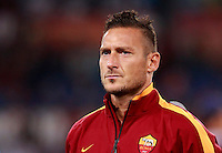 Calcio, Champions League, Gruppo E: Roma vs CSKA Mosca. Roma, stadio Olimpico, 17 settembre 2014.<br /> Roma forward Francesco Totti looks on prior to the start of the Group E Champions League football match between AS Roma and CSKA Moskva at Rome's Olympic stadium, 17 September 2014.<br /> UPDATE IMAGES PRESS/Isabella Bonotto