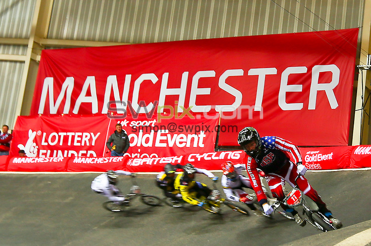Picture by Alex Whitehead/SWpix.com - Cycling - 2014 UCI BMX Supercross World Cup - National BMX Centre, Manchester, England - 19/04/14 - Connor Fields.
