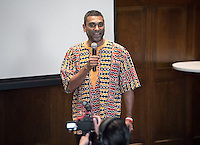 """Kumi Naidoo, a South African human rights activist and previously the International Executive Director of international environmentalist group Greenpeace, talks about """"Freezing Finance to Combat Climate Change.""""<br /> Occidental College's second TEDx event, Choi Auditorium, April 2, 2016. Featuring talks on sustainability and global development by speakers that included five students, a faculty member and seven external speakers.<br /> (Photo by Marc Campos, Occidental College Photographer)"""