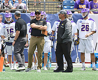No. 3 ranked Yale defeats no. 2 ranked Albany 20-11 in an NCAA semifinal game on May 26, 2018 at Gillette Stadium in Foxborough, Massachusetts.  (Bob Mayberger/Eclipse Sportswire)