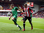 Ben Davies of Preston North End and Leon Clarke of Sheffield Utd during the championship match at the Bramall Lane Stadium, Sheffield. Picture date 28th April 2018. Picture credit should read: Simon Bellis/Sportimage