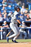 Columbia Fireflies Mark Vientos (13) swings at a pitch during a game against the Asheville Tourists at McCormick Field on June 22, 2019 in Asheville, North Carolina. The Tourists defeated the Fireflies 6-5. (Tony Farlow/Four Seam Images)