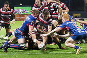 Nigel Ah Wong dives over to score the Steelers second try. Mitre 10 Cup game between Counties Manukau Steelers and Tasman Mako's, played at ECOLight Stadium Pukekohe on Saturday October 14th 2017. Counties Manukau won the game 52 - 30 after trailing 22 - 19 at halftime. <br /> Photo by Richard Spranger.