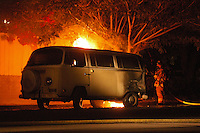 Volkswagon Camper Bus Catches fire in Pacific Beach, San Diego, CA, USA