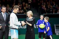 Februari 15, 2015, Netherlands, Rotterdam, Ahoy, ABN AMRO World Tennis Tournament, Final : runner up Tomas Berdych (CZE) receives the trophy from Jolanda Jansen (AHOY)<br /> Photo: Tennisimages/Henk Koster