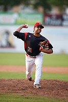 Batavia Muckdogs relief pitcher Jeremy Ovalle (31) during the first game of a doubleheader against the Mahoning Valley Scrappers on August 28, 2017 at Dwyer Stadium in Batavia, New York.  Mahoning Valley defeated Batavia 6-3.  (Mike Janes/Four Seam Images)