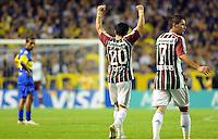BUENOS AIRES, ARGENTINA, 07 MARCO 2012 - Jogadores do Fluminense comemoram gol, durante jogo entre Boca Juniors x Fluminense, válido pela fase de grupos da Copa Santander Li9bertadores 2012, realizado no estádio La Bombonera.FOTO: JUANI RONCORONI - BRAZIL PHOTO PRESS.