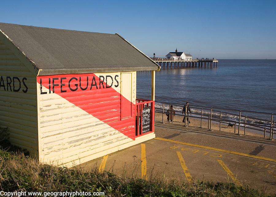 Lifeguard hut and pier Southwold, Suffolk, England