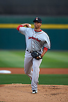 Pawtucket Red Sox pitcher William Cuevas (32) delivers a pitch during a game against the Buffalo Bisons on August 28, 2015 at Coca-Cola Field in Buffalo, New York.  Pawtucket defeated Buffalo 7-6.  (Mike Janes/Four Seam Images)