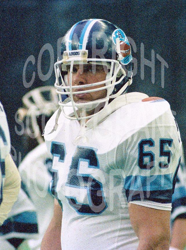Dan Petschenig Toronto Argonauts 1986. Photo John Bradley
