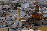 View of Santa Cruz Church from the Giralda Tower, Seville, Andalusia, Spain.