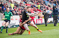Picture by Allan McKenzie/SWpix.com - 07/04/2018 - Rugby League - Betfred Super League - Salford Red Devils v Warrington Wolves - AJ Bell Stadium, Salford, England - Warrington's Josh Charnley offloads as he's brought down by Salford's Derrell Olpherts.