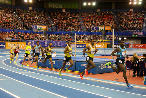 15.02.2014 Birmingham, England. Men's 3000 metres field in action during the British Athletics Grand Prix from the National Indoor Arena.