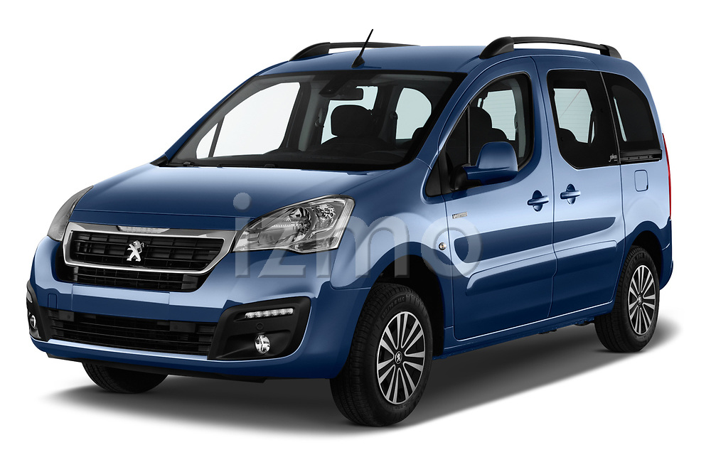 2018 Peugeot Partner Tepee Electric Allure 5 Door Mini Van angular front stock photos of front three quarter view