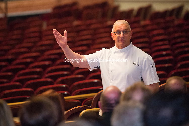 WATERBURY, CT - 4 December 2015-120415EC02-- Celebrity chef Robert Irvine talks with guests before he performed at the Palace Theater Friday night. Erin Covey Republican-American.