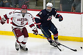 Clay Anderson (Harvard - 5), Logan Cockerill (NTDP - 9) - The Harvard University Crimson defeated the US National Team Development Program's Under-18 team 5-2 on Saturday, October 8, 2016, at the Bright-Landry Hockey Center in Boston, Massachusetts.