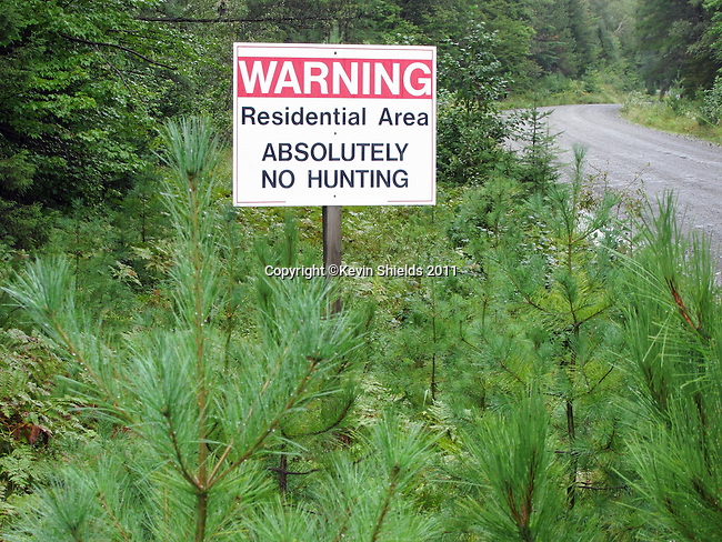 No Hunting sign in rural Somerset County, Maine, USA