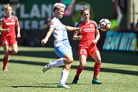 Portland, OR - Saturday August 05, 2017: Janine Van Wyk, Meghan Klingenberg during a regular season National Women's Soccer League (NWSL) match between the Portland Thorns FC and the Houston Dash at Providence Park.