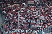 Fussball 1. Bundesliga 2012/2013: Relegation  Bundesliga / 2. Liga  TSG 1899 Hoffenheim  - 1. FC Kaiserslautern          23.05.2013 Fans vom FC Kaiserslautern praesentieren eine Fan Choreographie mit den Banner ALLES GEBEN LAUTERN OBEN SEHN!