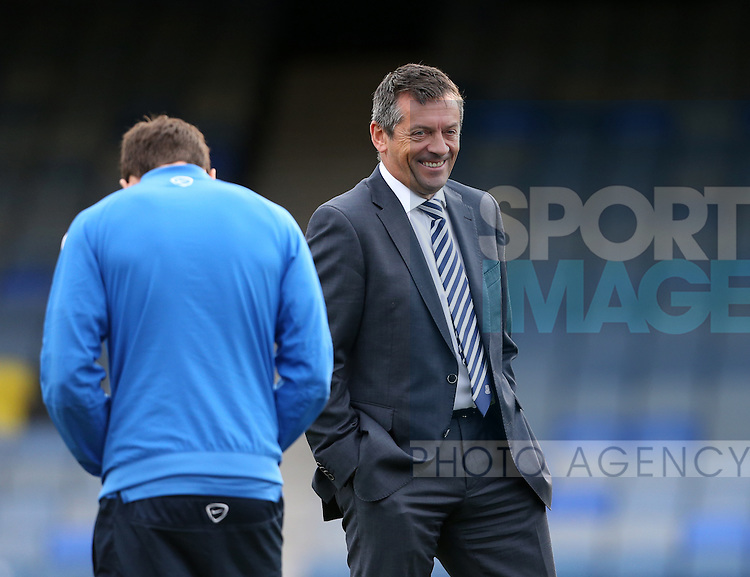 Southend's manager Phil Brown looks on during the League One match at Roots Hall Stadium.  Photo credit should read: David Klein/Sportimage