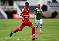 TUNJA -COLOMBIA, 25-02-2017. Omar  Vásquez, jugador de Patriotas, en acción durante el encuentro entre Patriotas FC y Deportivo Cali por la fecha 6 de la Liga Águila I 2017 realizado en el estadio La Independencia de Tunja. / Omar Vásquez, player of Patriotas in action during the match between Patriotas FC and Deportivo Cali for the date 6 of Aguila League I 2017 played at La Independencia stadium in Tunja. Photo: VizzorImage/César Melgarejo/Cont