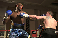 Andre Sterling (blue shorts) defeats Andrejs Tolstihs during a Boxing Show at the Sheraton Grand Hotel on 10th May 2018