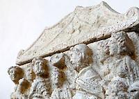 Dettaglio di un'urna cineraria esposta in occasione della conferenza stampa sul ritrovamento di 23 urne di arte Etrusca ed oltre 3000 reperti rinvenuti in un'area nel territorio di Perugia, presso la sede del Comando Carabinieri per la Tutela del Patrimonio Culturale a Roma, 27 giugno 2013.<br /> A detail of a cinerary urn displayed in occasion of a press conference on the finding of 23 Etrurian cinerary urns and more than 3,000 finds from a tomb complex in the area of modern Perugia, in Rome, 27 June 2013.<br /> UPDATE IMAGES PRESS/Riccardo De Luca