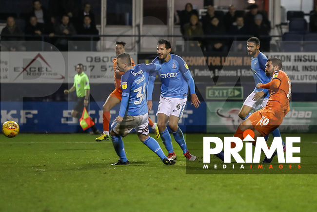Elliot Lee of Luton Town (right) scores his team's second goal during the Sky Bet League 1 match between Luton Town and Bradford City at Kenilworth Road, Luton, England on 27 November 2018. Photo by David Horn.