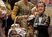 The figurine of Oscar awarded Director  Paolo Sorrentino seen in shop of craftman Genny Di Virgili o in  Naples san Gregorio armeno La statuina di Paolo Sorrentino peer il presepe dei Vip di Genny di virgilio