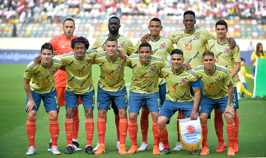LIMA,PERÚ,09-06-2019:Formación de Colombia ante el Perú durante   partido amistoso de preparación para la Copa América de Brasil 2019 jugado en el estadio Monumental de Lima la ciudad de Lima./ Team of Colombia agaisnt of Peru team during a friendly match in preparation for the 2019 Copa América of Brazil played at Lima's Monumental Stadium in Lima. Photo: VizzorImage / Cristian Alvarez / FCF