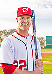 28 February 2016: Washington Nationals outfielder Logan Schafer poses for his Spring Training Photo-Day portrait at Space Coast Stadium in Viera, Florida. Mandatory Credit: Ed Wolfstein Photo *** RAW (NEF) Image File Available ***