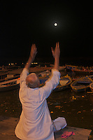 Man worship during full Moon over the Ganges River,Varanasi India, Aarti Ceremony