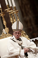 Papa Francesco celebra una messa in occasione della Festa della Presentazione del Signore nella Basilica di San Pietro in Vaticano, 2 Febbraio 2018.<br /> Pope Francis celebrates a holy mass to mark the Feast of the Presentation of the Lord. in St Peter&rsquo;s Basilica at the Vatican on February 2, 2018.<br /> UPDATE IMAGES PRESS/Isabella Bonotto<br /> <br /> STRICTLY ONLY FOR EDITORIAL USE