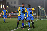 Carlos Djalo Oso of Romford (R) scores the second goal for his team and celebrates during Romford vs Norwich United, Bostik League Division 1 North Football at Ship Lane on 11th April 2018