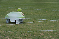 """NWA Democrat-Gazette/J.T. WAMPLER A line painting robot paints lines on soccer fields at CL """"Charlie"""" and Willie George Park Thursday April 11, 2019. The Turf Tank can paint fifteen soccer fields in six hours, a task that would otherwise take three parks workers two days to do it by hand."""