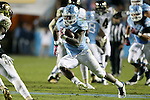 17 October 2015: UNC's Elijah Wood (34) rushes 36 yards for a touchdown. The University of North Carolina Tar Heels hosted the Wake Foresst University Demon Deacons at Kenan Memorial Stadium in Chapel Hill, North Carolina in a 2015 NCAA Division I College Football game. UNC won the game 50-14.