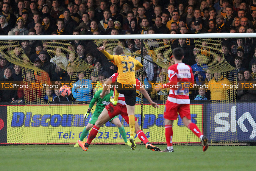 Ryan Bird of Cambridge United has a shot at goal - Cambridge United vs Mansfield Town -FA Challenge Cup 2nd Round Football at the Abbey Stadium, Cambridge - 06/12/14 - MANDATORY CREDIT: Mick Kearns/TGSPHOTO - Self billing applies where appropriate - contact@tgsphoto.co.uk - NO UNPAID USE