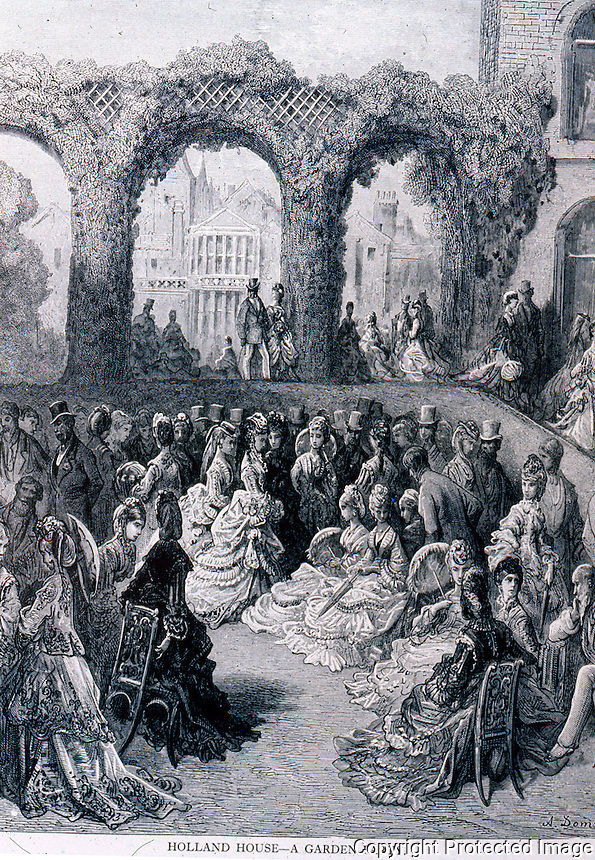 "London: Gustave Dore--""Holland House--a Garden Party"" , 1872.  Reference only."