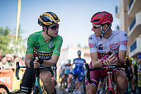 Although Nils Politt (DEU/Katusha-Alpecin) is wearing the white jersey, it is actually Wout van Aert (BEL/Jumbo-Visma) who is the rightfull 'owner' as he is first in the green AND white jersey rankings<br /> <br /> Stage 5: Boën-sur-Lignon to Voiron (201km)<br /> 71st Critérium du Dauphiné 2019 (2.UWT)<br /> <br /> ©kramon