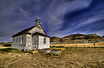Abandoned church at Dorothy Alberta, in the badlands near Drumheller.