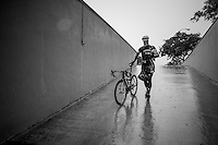Jasper Stuyven (BEL/Trek-Segafredo) on his way to the hotel basement to continue (shortened/due to weather) training on the rollers<br /> <br /> Team Trek-Segafredo winter training camp <br /> <br /> january 2017, Mallorca/Spain