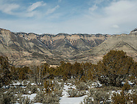 Mountains around the town of Parachute, Colorado, Wednesday, February 21, 2013. Fracking has been a hot topic for the area around Battlement Mesa and Parachute, Colorado with concerned citizens wanting more studies on potential health issues and drilling companies growing their operations.<br /> <br /> Photo by Matt Nager