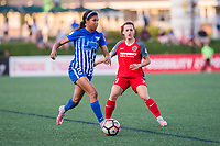 Boston, MA - Friday May 19, 2017: Margaret Purce and Hayley Raso during a regular season National Women's Soccer League (NWSL) match between the Boston Breakers and the Portland Thorns FC at Jordan Field.