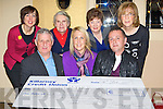 The Killarney/South Kerry branch of the Irish Cancer society presents a cheque of  EUR51,543 to the Irish Cancer Society in the Grand Hotel Killarney Monday night front row l-r: Tim Moriarty, Rose O'Dea Irish Cancer Society, Eugene O'Sullivan. Back row: Stephanie Casey, Sr Anna Maria, Kathleen O'Shea and Kathrina Breen.