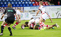 Picture by Chris Mangnall/SWpix.com - 14/07/2017 - Rugby League - Betfred Super League - Huddersfield Giants v Leigh Centurions - John Smith's Stadium, Huddersfield, England -<br /> Huddersfield's Leroy Cudjoe scores a try  tackled by Leighs Mitch Brown