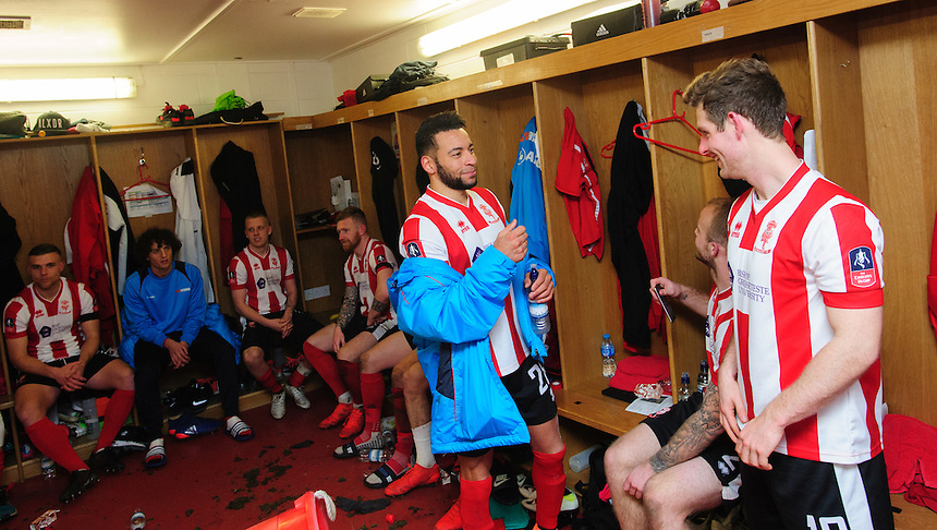 Lincoln City players celebrate in the changing room at the end of the game<br /> <br /> Photographer Chris Vaughan/CameraSport<br /> <br /> Emirates FA Cup Third Round Replay - Lincoln City v Ipswich Town - Tuesday 17th January 2017 - Sincil Bank - Lincoln<br />  <br /> World Copyright &copy; 2017 CameraSport. All rights reserved. 43 Linden Ave. Countesthorpe. Leicester. England. LE8 5PG - Tel: +44 (0) 116 277 4147 - admin@camerasport.com - www.camerasport.com