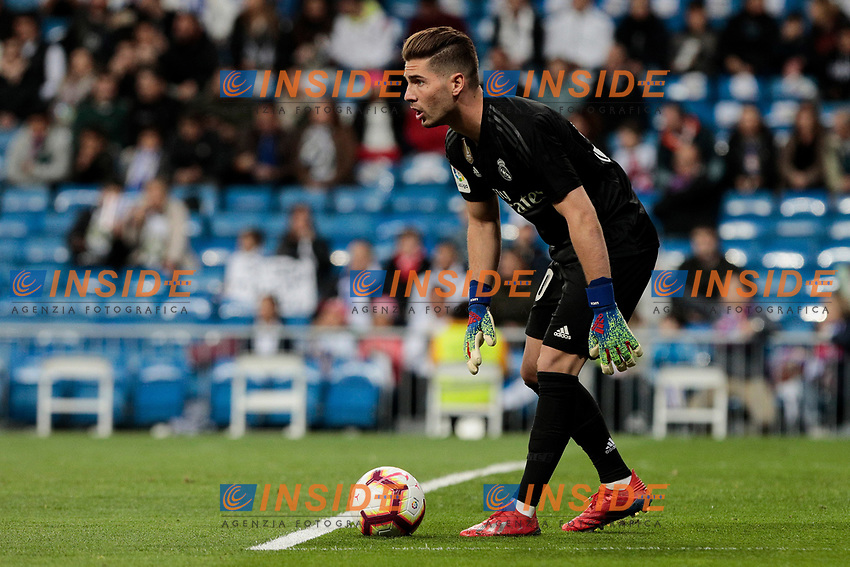 Real Madrid's Luca Zidane during La Liga match between Real Madrid and SD Huesca at Santiago Bernabeu Stadium in Madrid, Spain.March 31, 2019. (ALTERPHOTOS/A. Perez Meca)<br /> Liga Campionato Spagna 2018/2019<br /> Foto Alterphotos / Insidefoto <br /> ITALY ONLY