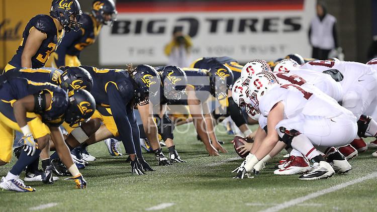 BERKELEY, CA - November 19, 2016: Cal Bears Football team vs. the Stanford Cardinal at Memorial Stadium. Final score, Cal Bears 31, Stanford Cardinal 45.
